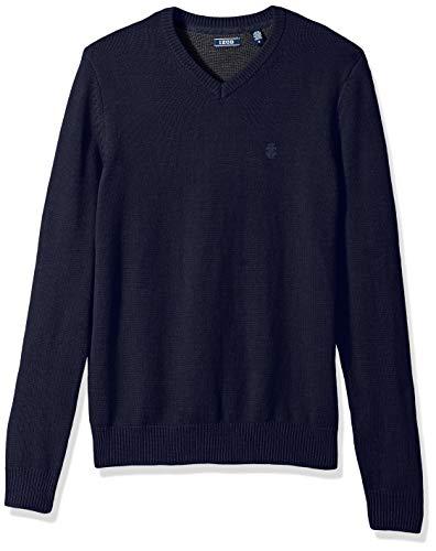 (IZOD Men's Premium Essentials Solid V-Neck 7 Gauge Sweater, Peacoat 001, Large)