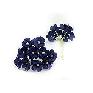 1.5cm Navy Blue Mulberry Paper Flowers, Navy Paper Hydrangea, Wedding Flowers, Wedding Decor, Wedding Table Flowers, Navy Blue Wedding, Artificial Flowers, 50 Pieces 2