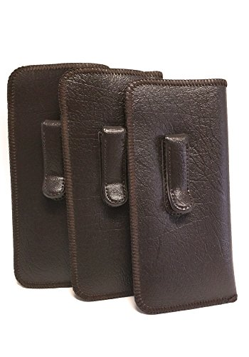 Mens Soft Slip-in Case w/Metal Clip Medium Sized in Brown (3 Pack)