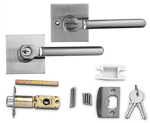 Berlin Modisch Entry Lever Door Handle Lock and Key Slim Square Locking Lever Set [for Front Door or Office] Reversible for Right & Left Sided Doors Heavy Duty – Satin Nickel Finish by Berlin Modisch (Image #1)