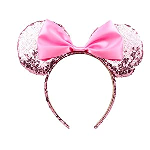 Cute Mickey Mouse Ears Headband Butterfly Glitter Hairband For Girls