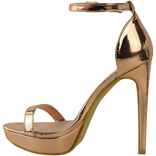 Fashion Thirsty Womens Ladies Platform High Heel Stiletto Sandals Sexy Party Prom Shoes Size New Rose Gold Metallic W7zx7g15v