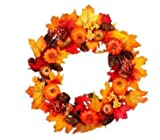 Promisen Halloween Garland,Rattan Berry Maple Leaf Fall Door Wreath Door Wall Ornament for Halloween Thanksgiving Day Decor (As Shown)