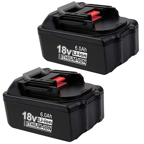 18V 6.0Ah BL1860 Lithium-Ion Replacement for Makita 18-Volts Battery BL1815 BL1830 BL1820 BL1850 BL1840 BL1850B-2 LXT-400 BL1845 194205-3 BL1860 194204-5 Cordless Power Tools Batteries (2 Pack)
