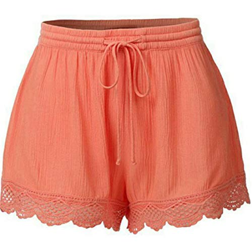 Itemnew Women's Loose Fit Elastic Waist Drawstring Lace Summer Casual Yoga Lounge Shorts (X-Large, Orange)