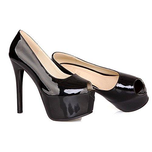 Noir Dessus balamasa enfiler Mesdames Cuir à Sandales Baskets Verni A8aqwESa