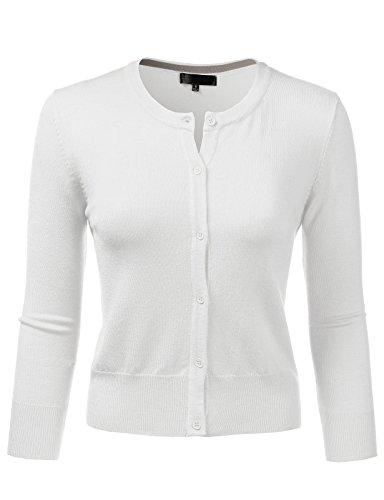 H2H Womens Basic Ultra Stretch 3/4 Sleeve Deep Crew Neck Knit Cardigan White US L/Asia L (AWOCAL0287) Cashmere Summer Cardigan