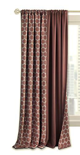- Ben & Jonah PrimeHome Collection Prelude Reversible Blackout Rod Pocket Curtain Panel-50x63-Marsala, Marsala
