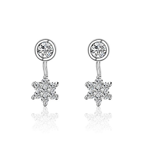 Acxico 1 Pair 925 Sterling Silver Elegant White Cut Ziron with Snowflake Pendant Stud Earrings Women -