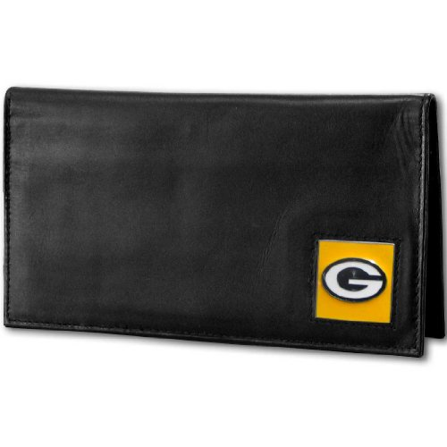 NFL Green Bay Packers Deluxe Leather Checkbook Cover (Leather Nfl Deluxe)
