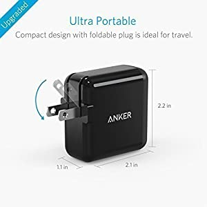 Anker 2-Port 24W USB Wall Charger PowerPort 2 with PowerIQ for iPhone X/ 8/7 / 6s / Plus, iPad Air 2 / Mini 3, Galaxy S Series, Note Series, LG, Nexus, HTC and More