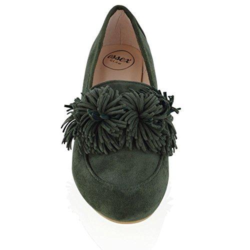Essex Glam Kvinners Ballett Leiligheter Uformell Slip På Faux Suede Natural Sko Olive Faux Suede