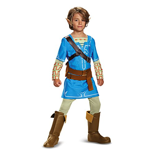 Link Breath Of The Wild Deluxe Costume, Blue, Medium (7-8)