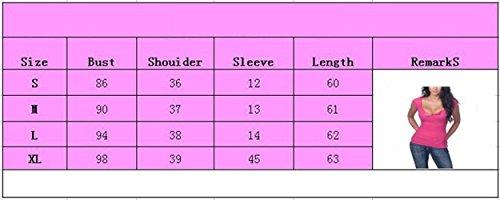 V Sexy Haut Manches T Chemisiers Femmes Col Blouses Courtes Jaune Shirt Serr Tops wTS855Ax