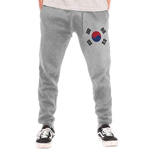 QTHOO Men's South Korea Flag Long Sweatpants Gray