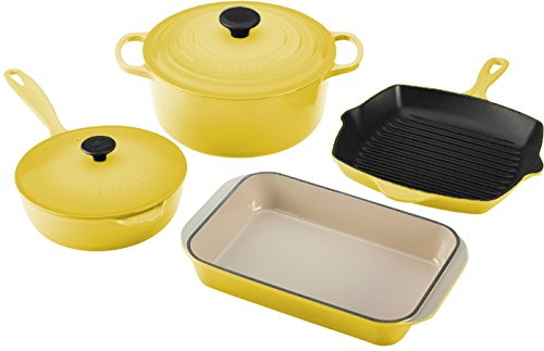 Le Creuset 6-Piece Signature Enameled Cast-Iron Cookware Set, Soleil For Sale
