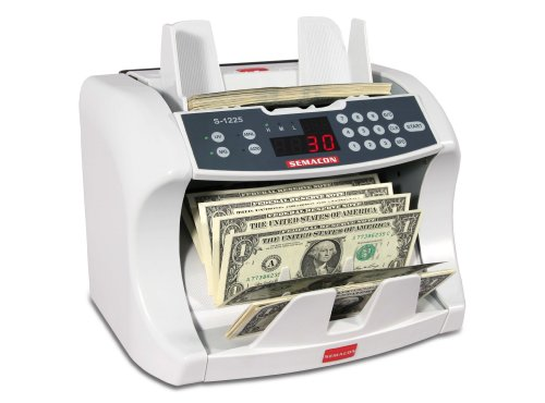 Semacon S-1225 High-Speed Bank Grade Currency Counter with Ultraviolet and Magnetic Counterfeit Detection, 800/1200/1600 Notes per Minute Counting Speed, Batching: 10 Keys/1-999 Range, 110V / 60Hz by Semacon