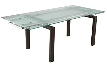 Amazoncom Shelly Extension Dining Table W Frosted Glass Tables - Frosted glass conference room table