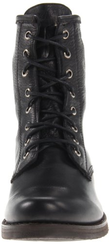 76276 Veronica Leather mujer Black canvas Frye de Combat Soft Vintage Botas fzqgv