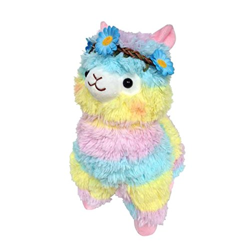 Sunny World Blue Flowers Colored Ribbon Alpaca Llama Toy -17.7