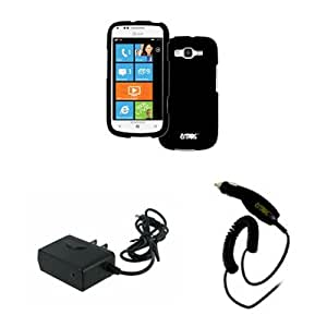 EMPIRE AT&T Samsung Focus 2 I667 Rubberized Case Cover, Black + Car Charger + Wall Charger