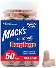 Mack's Ultra Soft Foam Earplugs, 50 Pair - 32dB Highest NRR, Comfortable Ear Plugs for Sleeping, Snoring,