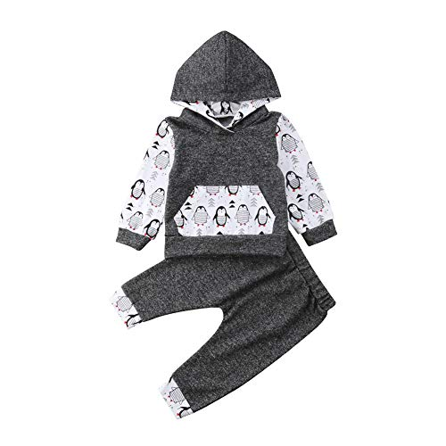 Infant Baby Girl Boy Hooded Clothes Set Outfits Toddler Newborn Print Floral T-Shirt Top and Pants Leggings Set Penguin 100