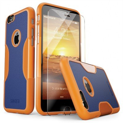 iPhone 6 Case, iPhone 6s Case Orange Blue SaharaCase [Bonus Tempered Glass Screen Protector] Shock-Absorption TPU Rubber Bumper Reinforced Hard Plastic Frame for Apple 6/6s 4.7