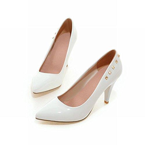 Latasa Mujeres Tachonado Punta Estrecha Tacones Altos Vestido Bombas Zapatos Blanco