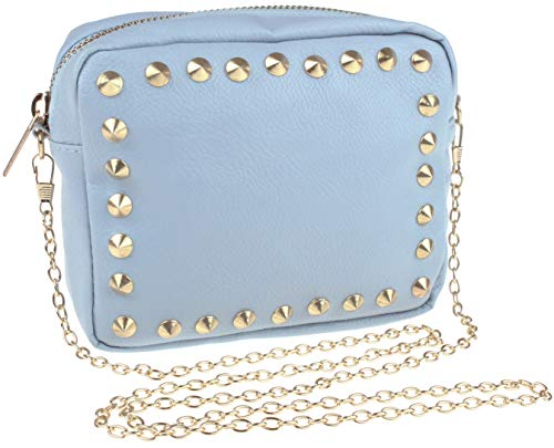 (Cross Body PU Bag with Pyramid Stud Border Blue Combo One Size)