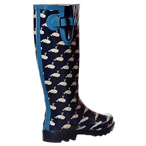 Funky Colours Wellington Onlineshoe Flat Assorted Whale Festival Rain Boots Wellie FBA Tz5qp