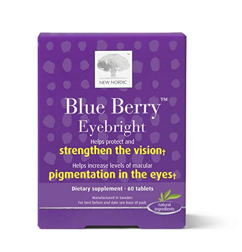 New Nordic Blue Berry Eyebright, 60 Tablets Eye Health Supplement with Lutein and Eyebright, Naturally Sourced Ingredients