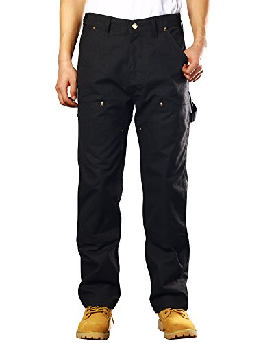 Men's Double Front Canvas Work Dungaree Cargo Pant #6056-Black,32