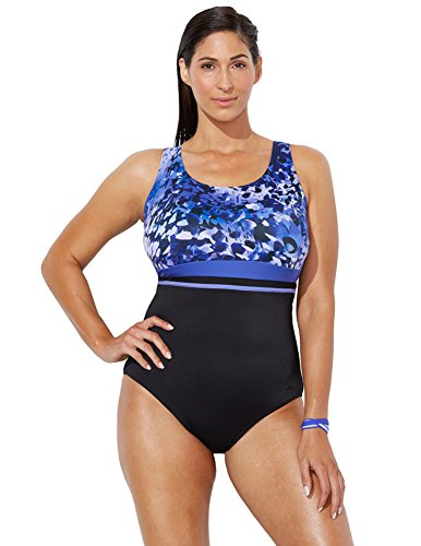 (Swimsuits For All Women's Plus Size Printed One Piece Sport Swimsuit 24 Purple)