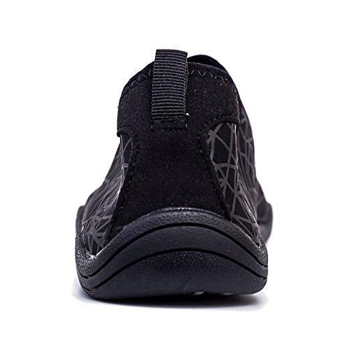 AMAWEI Men Women Water Shoes Barefoot Quick Dry Beach Swim Shoes Sports Aqua Socks Surf Yoga Pool Aerobics (46, 04-Black) by AMAWEI (Image #5)