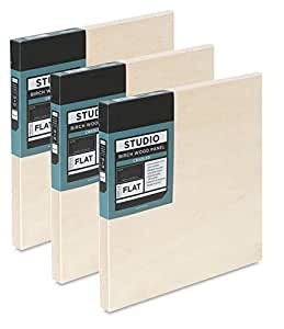 """Art Wood Panels 3 Pack smooth texture 7/8"""" rigid thick studio project panels set of three birch block Cradled panels Ready to Prime art board (8"""" x 10"""")"""