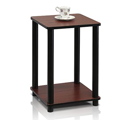 Furinno 99800R DC/BK Turn N Tube End Table, Dark Cherry