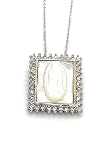 LESLIE BOULES Virgen de Guadalupe Mother of Pearl Pendant Silver Plated Chain 18