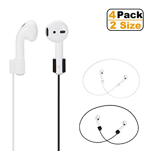 Airpods Strap,Airpods Accessories,Airpods Ear Hooks, TPE Sport Secure Anti-lost Strap Wire Cable Connector Holder for Apple Airpods Wireless Bluetooth Earphones,4 pack Inch Neck Strap for iPhone X (Ear Hooks Action Sports)