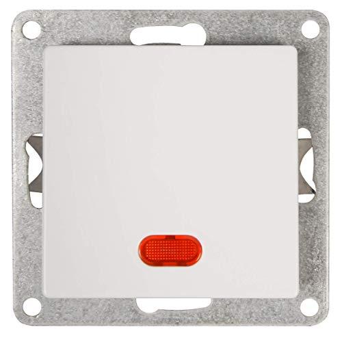 McPower 1534276 - Interruptor de copa (250 V~/10 A, UP, con luz de control), color blanco