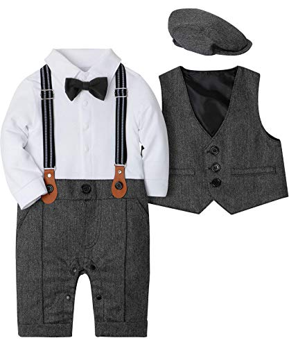 WESIDOM Baby Boy Suit Outfits Set 3pcs,Infant Tuxedo Long Sleeve Gentleman Wedding Jumpsuit & Vest Coat & Berets Hat Grey]()