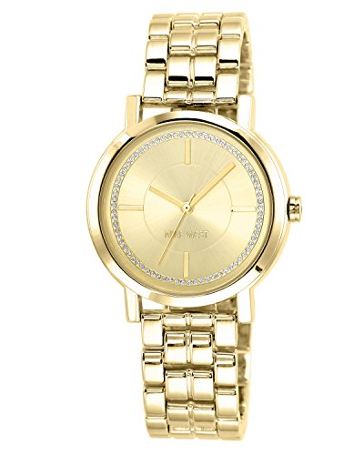 (Nine West Women's Gold-Tone Bracelet Watch )