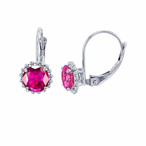 Glass Ruby Earrings (10K White Gold 6mm Round Glass Filled Ruby Center Stone Bead Frame Leverback Earring)