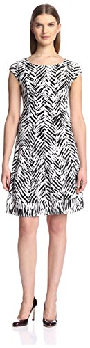 Black And Cream Print Dress - Signature by Robbie Bee Women's Knit Print Dress, Black Cream, S