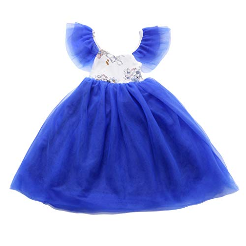 Toddler Baby Kids Girls Dress Floral Ruched Tulle Patchwork Multi Layer Cosplay Princess Party Long Dresses Blue