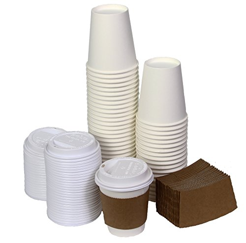NYHI 12 Ounce Paper Hot Cups with Lids and Cup Sleeves Pack of 50 (50)