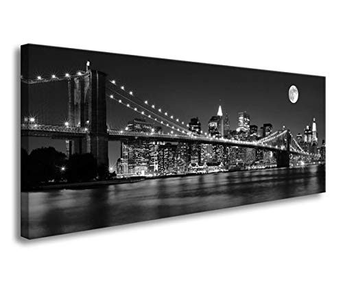Brooklyn Bridge Art - Wall Art for Living Room Black and White New York Brooklyn Bridge Night Landscape Photos Canvas Prints Framed Wall Art Pictures for Bedroom Wall Decor Modern Artwork for Walls Ready to Hang 16x48inch