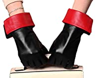 YISEVEN Women's Touchscreen Goatskin Leather Dress Gloves Warm Fleece Lined Red Cuff