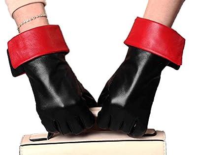 YISEVEN Women's Touchscreen Goatskin Leather Dress Gloves Warm Fleece Lined Red Cuff