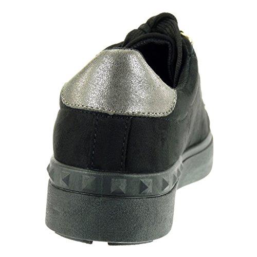 Noir 5 Basket Femme Angkorly Talon Doré Mode Compensée Chaussure Perle Basse Clouté 2 Cm Plat q4B46w